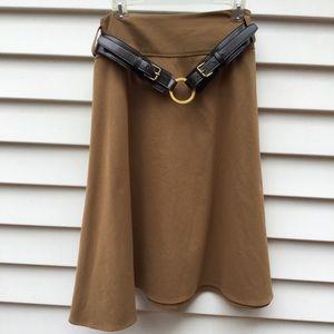 Bandolino Petite Skirt Midi Stretch Brown Sz 14P